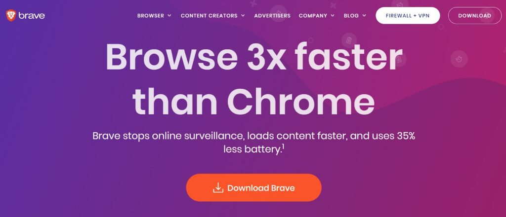 A screenshot of the Brave browser home page