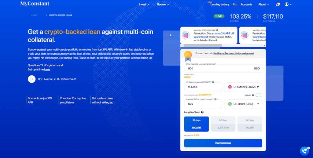 Put your DFI.money tokens to good use by using them for a crypto-backed loan on MyConstant.